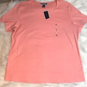 Karen Scott Scoop Neck T-shirt Coral XL NWT
